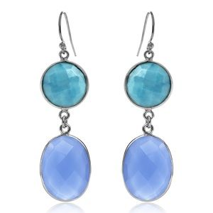 Turquoise And Blue Chalcedony Double Drop Earrings